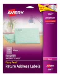 Avery Easy Peel Clear Return Address Labels 5667 Packaging Image