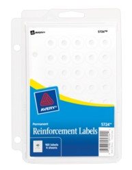 "Avery® White Self-Adhesive Reinforcement Labelswith Binder Clip 5724, 1/4"" Round, Pack of 160"