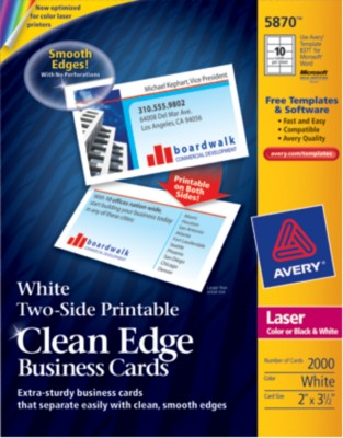 Two-Side Printable Color/Mono Laser Clean Edge Business Cards 5870