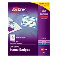 avery printable adhesive name badges with blue border