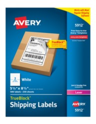 "Avery® White Internet Shipping Labels 5912, 5-1/2"" x 8-1/2"", Pack of 500"