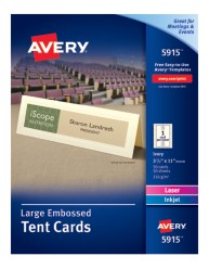 Avery® Large Embossed Tent Cards 5915, Packaging Image