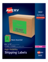 Avery® High-Visibility Shipping Labels 05933, Packaging Image