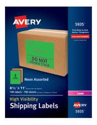 Avery® High-Visibility Shipping Labels 05935, Packaging Image