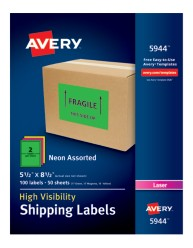 Avery® High-Visibility Shipping Labels 05944, Application Image