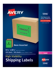 Avery® High-Visibility Shipping Labels 05946, Packaging Image