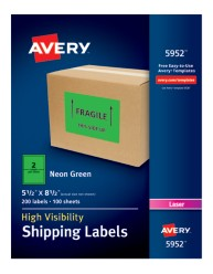 Avery® High-Visibility Shipping Labels 05952, Application Image