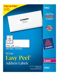 Avery Easy Peel White Address Labels 5962 Packaging Image