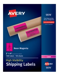Avery® High-Visibility Shipping Labels 05974, Packaging Image