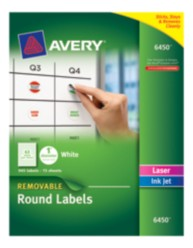 Avery&reg: Removable Round Labels 6450, Packaging Image