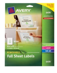 Avery Removable Full Sheet White Labels 6470 Packaging Image
