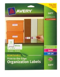 Avery Removable Print-to-the-Edge Organization Labels 6471 Packaging Image