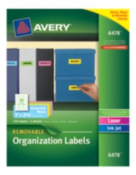 Avery® Assorted Neon Removable Multipurpose Labels 06478, Packaging Image