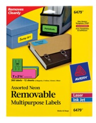Avery® Assorted Neon Removable Multipurpose Labels 06479, Packaging Image