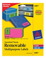 Avery® Assorted Neon Removable Multipurpose Labels 06481, Packaging Image