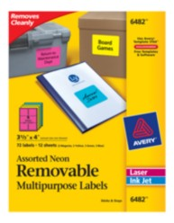 Avery® Assorted Neon Removable Multipurpose Labels 06482, Packaging Image