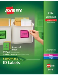 Avery Multipurpose Removable Neon Labels 6482
