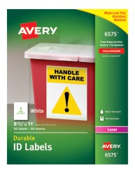 Avery® White Permanent Durable ID Labels for Laser Printers 6575, Packaging Image