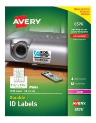 Avery® White Permanent Durable ID Labels for Laser Printers 6576, Packaging Image