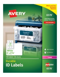 Avery® White Permanent Durable ID Labels for Laser Printers 6578, Packaging Image