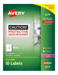 Avery® White Permanent Durable ID Labels for Laser Printers 6579, Packaging Image