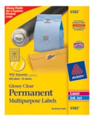 Avery Glossy Clear Permanent Multipurpose Round Labels 6582 Labels Packaging Image