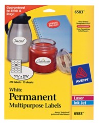 Identification labels avery white permanent multipurpose for Avery template 6583