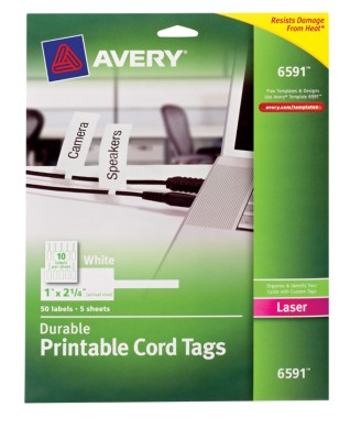 Durable Printable Cord Tag, Easy Peel (R), White, Laser 6591