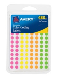 Avery® Assorted Removable Color-Coding Labels 6720, Packaging Image
