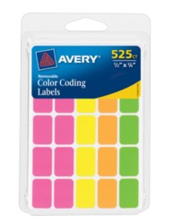 Avery® Assorted Neon Removable Color Coding Labels 6721, Packaging Image