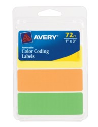 Avery® Neon Removable Color-Coding Labels 6722, Packaging Image