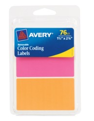 Avery® Neon Removable Color-Coding Labels 6723, Packaging Image