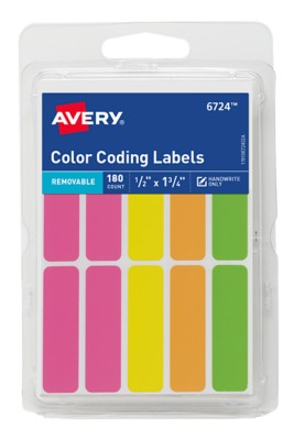 "Assorted Neon Color Coding Rectangles, 1/2"" x 1 3/4"" - 180 count 6724"