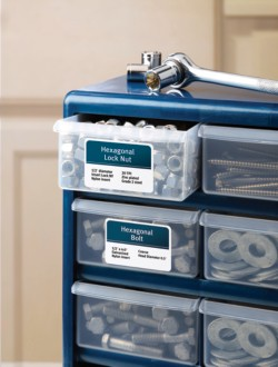 Mark property, containers and shelf space with labels such as Avery Durable ID Labels that stand up to frequent use and resist moisture, scuffing, tearing and smudging.
