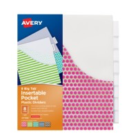 Avery big tab insertable plastic dividers with pockets for Office depot divider templates