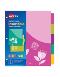 Avery® Big Tab™ Pocket Insertable Plastic Dividers 07712, Packaging Image