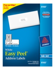 Avery Easy Peel White Address Labels 8160 Packaging Image