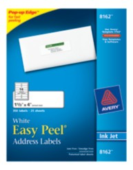 Avery Easy Peel White Address Labels 8162 Packaging Image