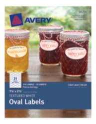 Avery® Textured White Oval Labels 08216, Packaging Image