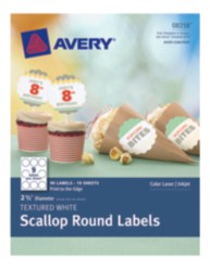 Avery® Textured White Scallop Round Labels 08218, Packaging Image