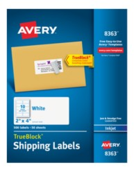 Avery® White Shipping Labels for Inkjet Printers 8363, Packaging Image