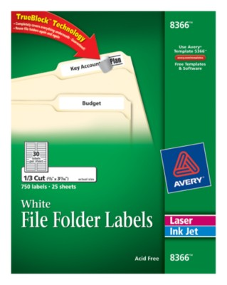 Avery Permanent White File Folder Labels, 25 sheets, 30 up,750 Total 8366