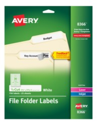 avery permanent white file folder labels 8366 25 sheets. Black Bedroom Furniture Sets. Home Design Ideas