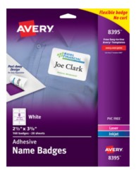 Avery printable white adhesive name badges for Avery id badge template