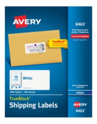 Avery® White Shipping Labels for Inkjet Printers 8463, Packaging Image