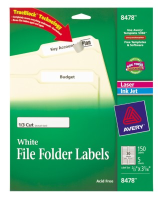 Avery Laser/Ink Jet Filing Labels (30 Labels per Sheet), 5 sheets per pack 8478