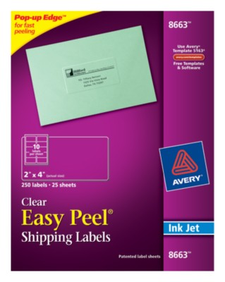 Easy Peel Clear Shipping Labels 8663