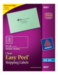 Avery Easy Peel Clear Shipping Labels 8663 Packaging Image