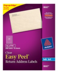Avery Easy Peel Clear Return Address Labels 8667 Packaging Image