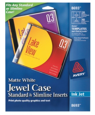 Avery CD Jewel Case Inserts 8693